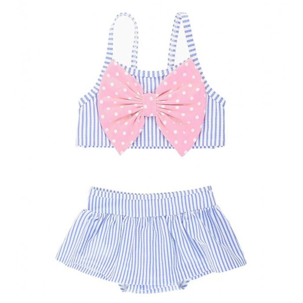 美國 RuffleButts - 小女童UPF 50+防曬無袖比基尼泳裝-粉紫搖擺