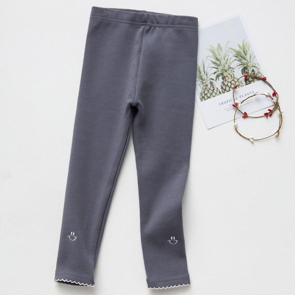 FANMOU - 內搭褲-笑臉-灰藍色