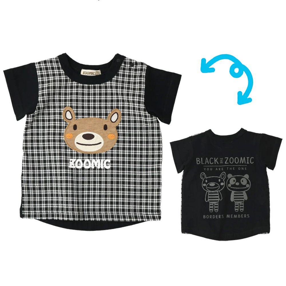 日本 ZOOLAND - 純棉印花拼接短T-小熊大頭格紋-黑