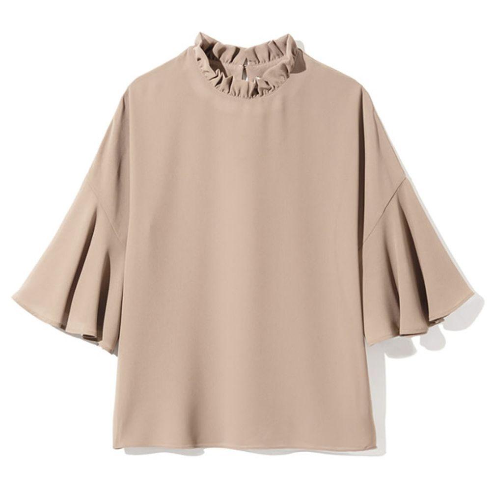 日本 GRL - 顯瘦垂墜七分袖上衣-杏
