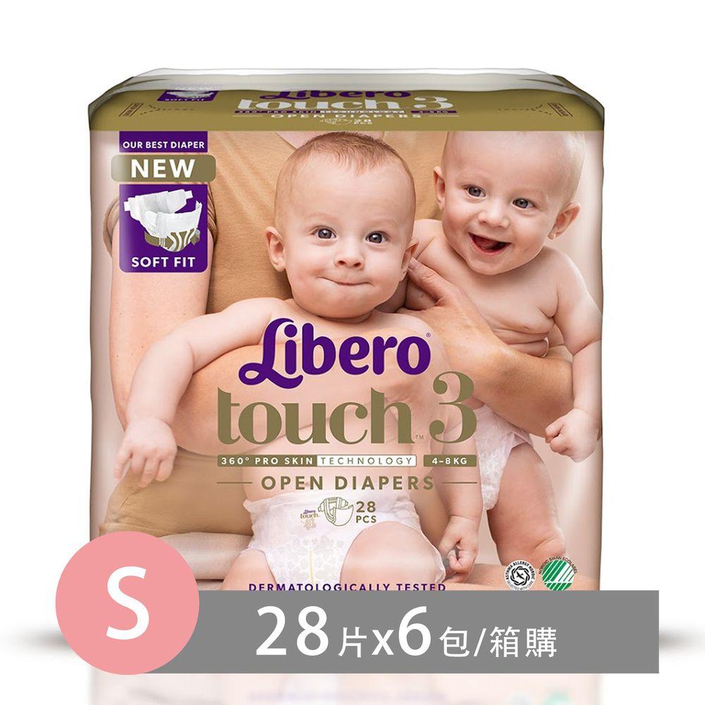 麗貝樂 - 嬰兒尿布/紙尿褲touch-頂級系列 (S/3號)-28片x6包