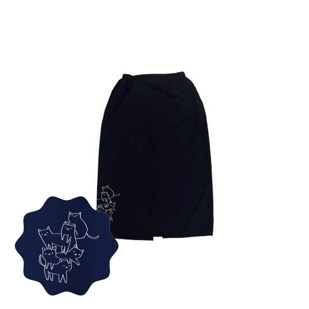 貝柔 Peilou - 貝柔貓日記防風防潑水遮陽裙-疊疊樂-黑
