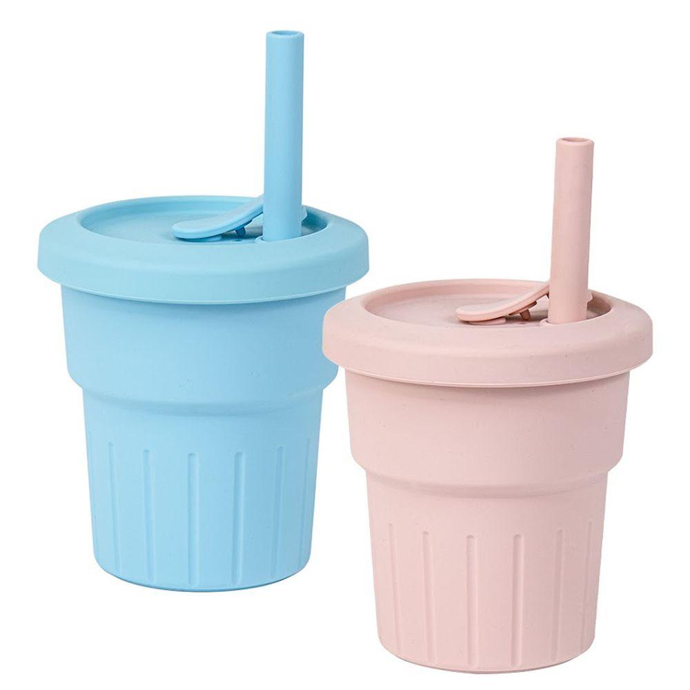 KOM - 台灣製矽膠環保隨行小巧杯兩入組-天空藍+櫻花粉 (330ml)