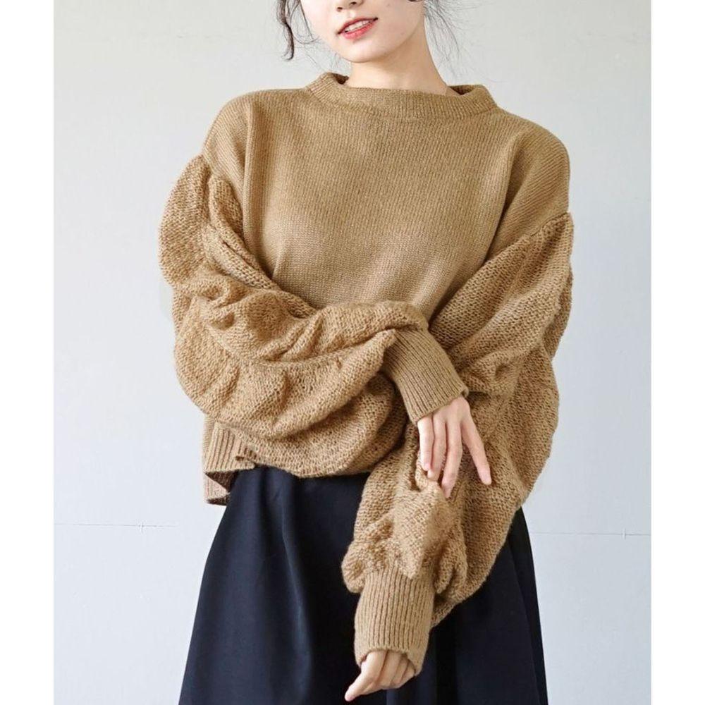 日本 zootie - 透膚泡泡寬鬆短版針織上衣-摩卡