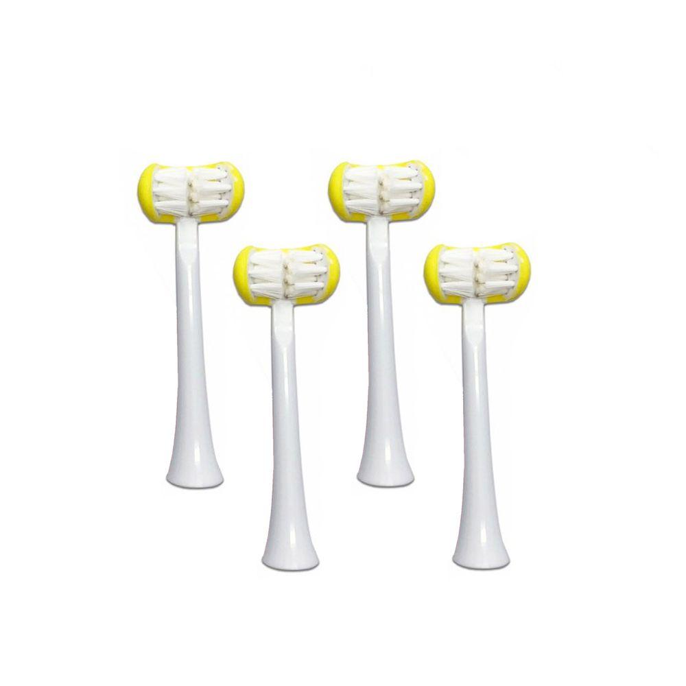 meekee - U型全包覆刷頭-3D 兒童電動牙刷-替換刷頭4入組-黃色