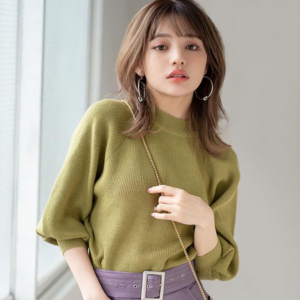 日本 GRL - 小高圓領七分袖薄款針織上衣-綠