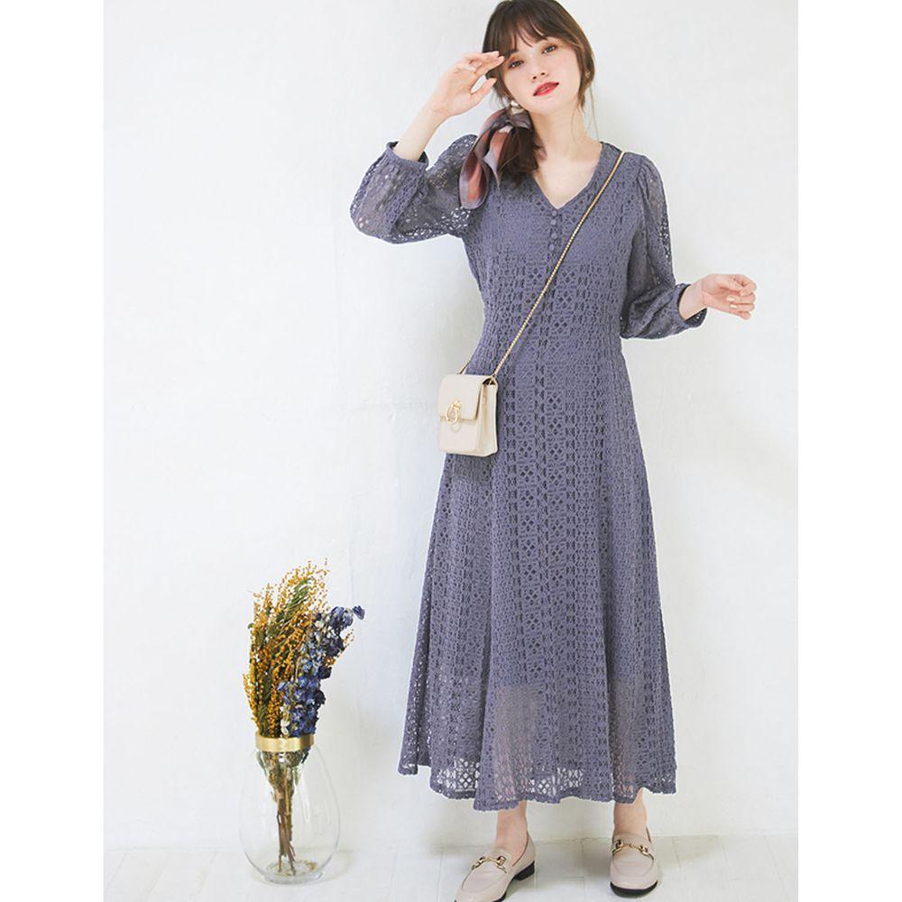 日本 GRL - V領蕾絲雕花長袖洋裝-藍