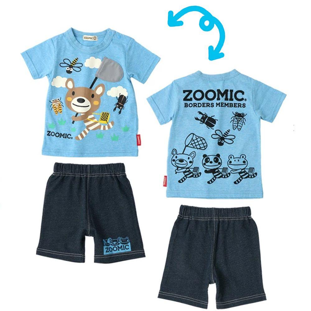 日本 ZOOLAND - 童趣印花短袖上衣X純棉短褲套裝-小熊抓蟲郊遊-水藍