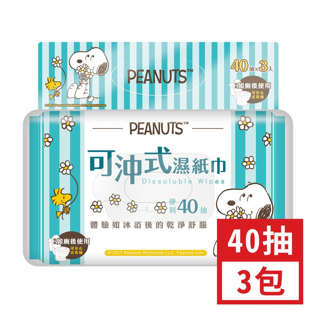 Peanuts - 史努比 可沖式濕紙巾40抽×3包