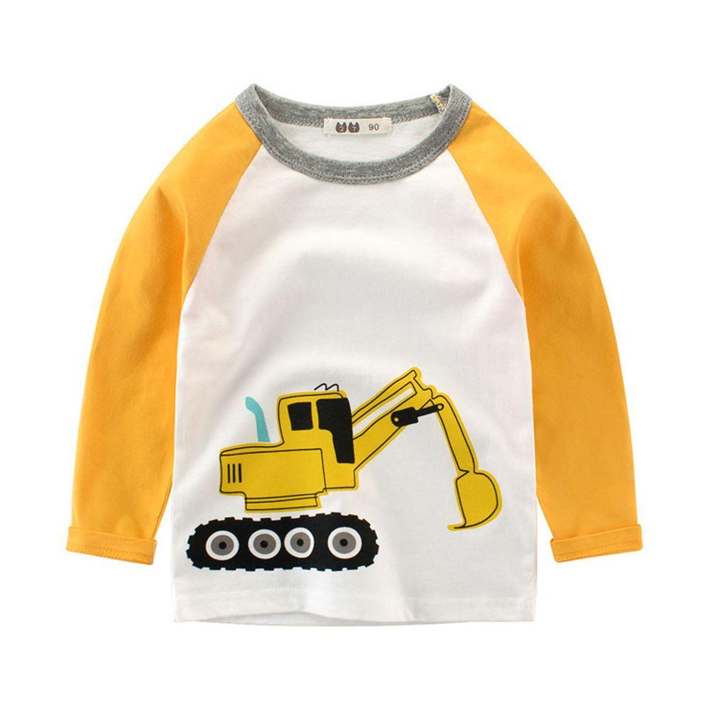 純棉長袖上衣-挖土機-黃色