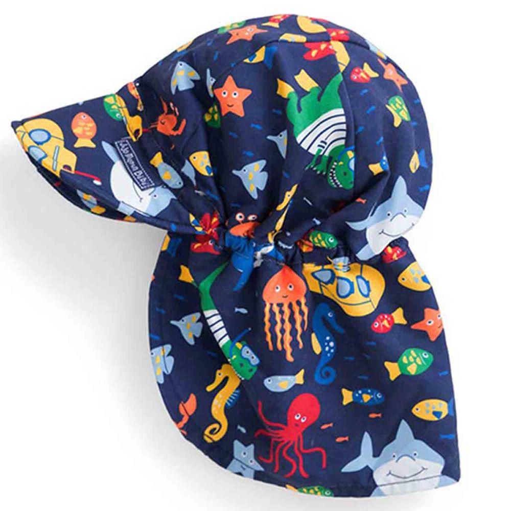 英國 JoJo Maman BeBe - 嬰幼兒/兒童UPF50+防曬護頸遮陽帽-海底世界