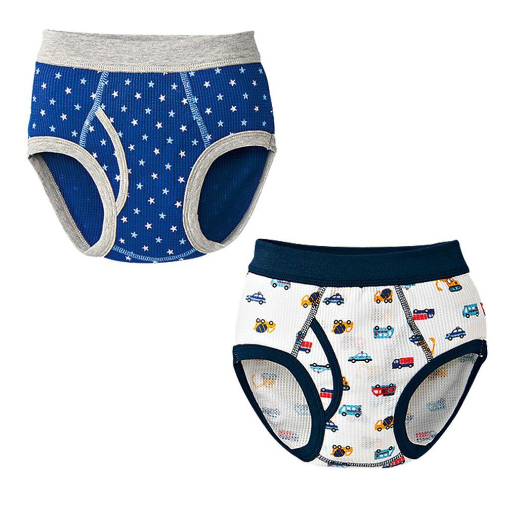 akachan honpo - 三角褲2件組 吸水速乾-工程車、星星-白色