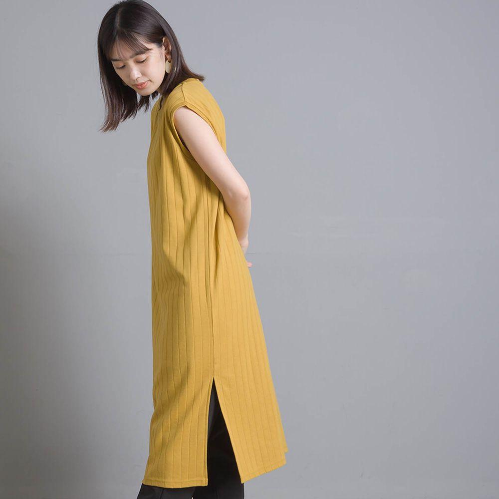 日本女裝代購 - 防透汗加工 粗羅紋開衩無袖洋裝-黃