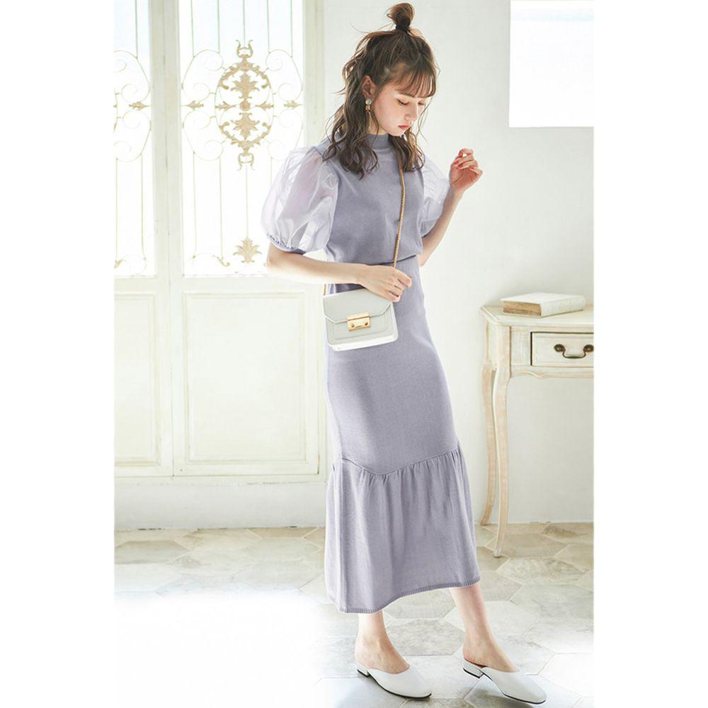 日本 GRL - 薄紗澎袖上衣+小魚尾修身長裙套裝-星塵藍