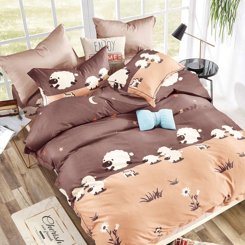 PureOne - 吸濕排汗天絲雙人四件式床包鋪棉被套組-溫馨草原 (150x186cm ±5%)-含床包+鋪棉兩用被套+枕套*2