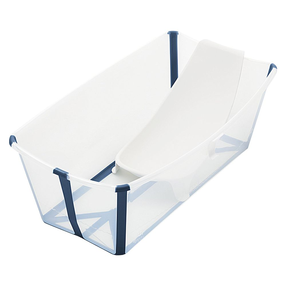 Stokke - Flexi Bath 折疊式浴盆(感溫水塞)套裝-含浴盆+浴架-透明藍