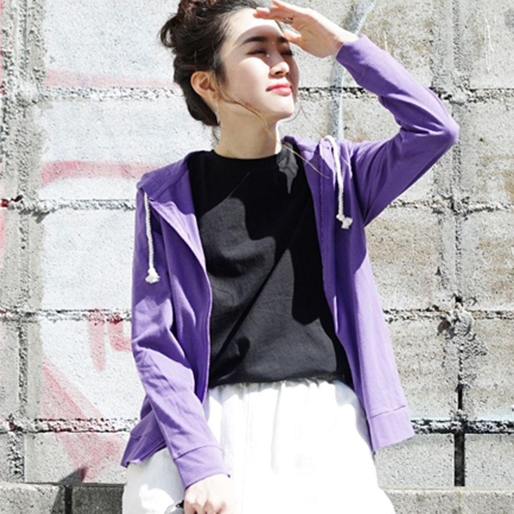 日本 zootie - 撥水X吸水速乾加工 抗透汗純棉防曬連帽外套-葡萄紫