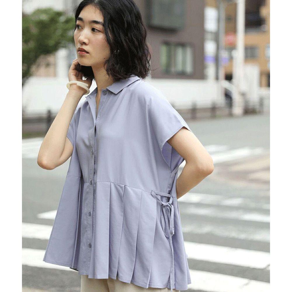 日本 Bou Jeloud - 百褶設計綁帶短袖襯衫-藍