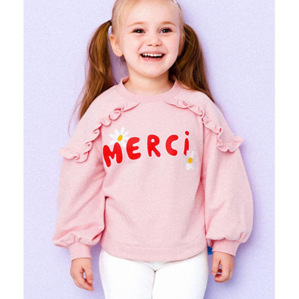 韓國 HEJMINI - 荷葉裝飾小雛菊泡泡袖上衣-粉紅