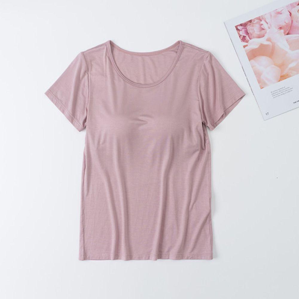 莫代爾柔軟涼感Bra T-淡粉色