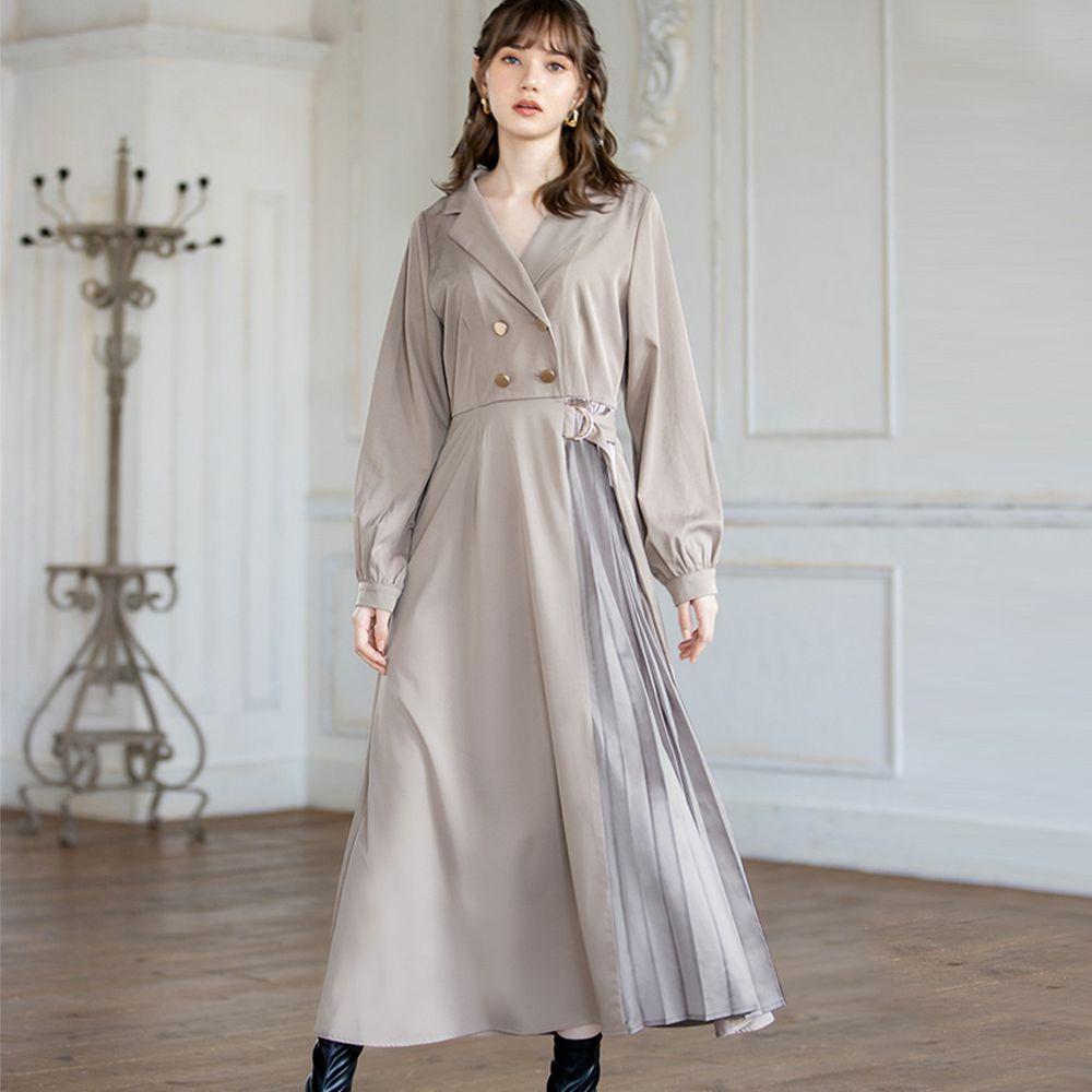 日本 GRL - (微瑕新品)雙排釦風衣造型百褶拼接長袖洋裝-淺灰杏 (M)