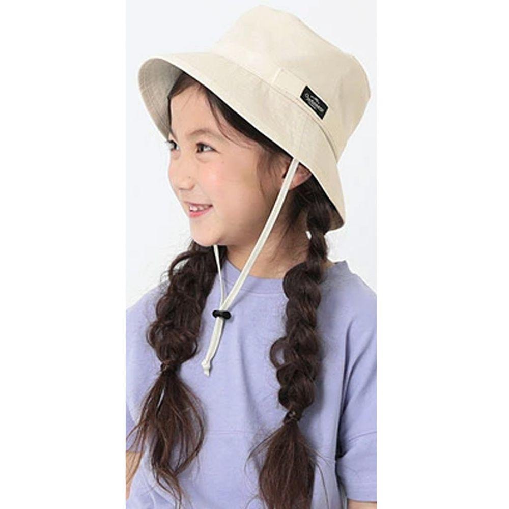 日本 devirock - 抗UV防曬兒童遮陽帽(附帽帶)-米