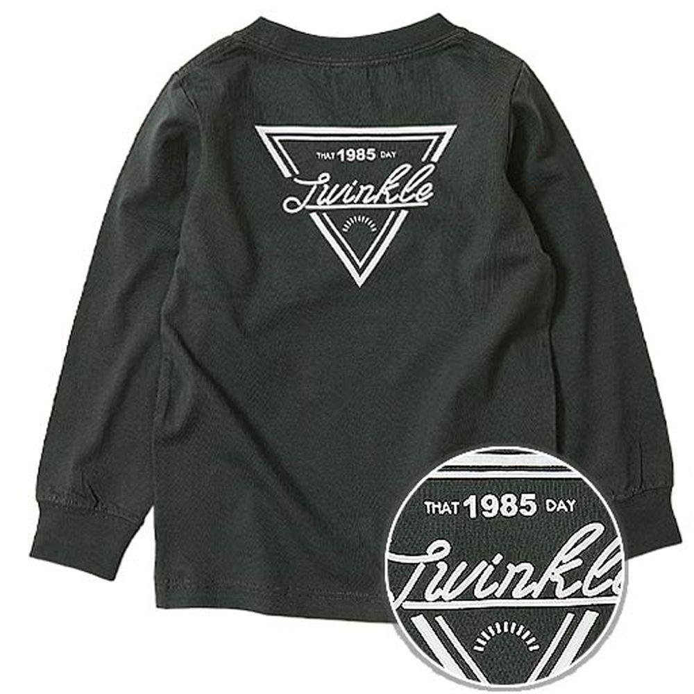 日本 devirock - 純棉 定番百搭印花長T(背面)-倒三角logo-黑