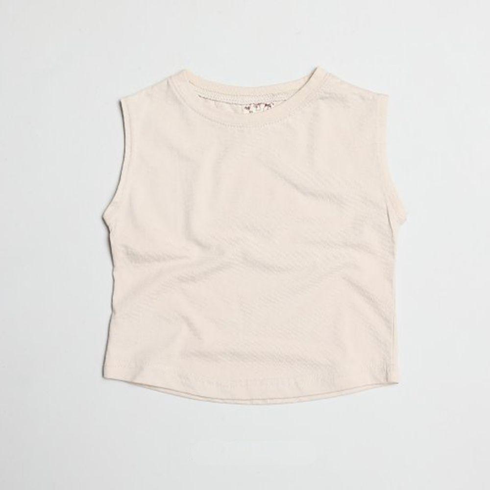 韓國製 - 水洗加工布純棉無袖T-杏