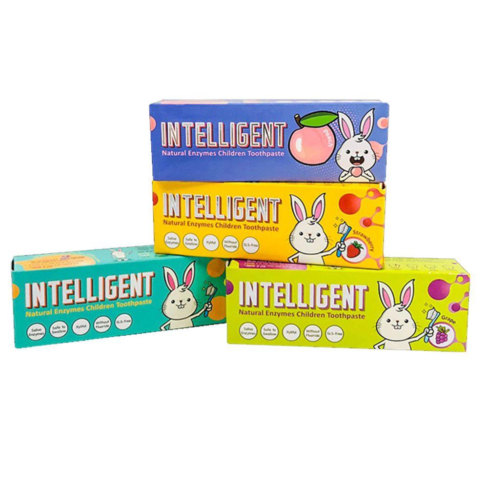 因特力淨 INTELLIGENT - 兒童酵素牙膏 (0歲以上,無氟,可吞食)-全口味4件組(原味(綜合水果)/草莓/葡萄/水蜜桃)-40g*4盒