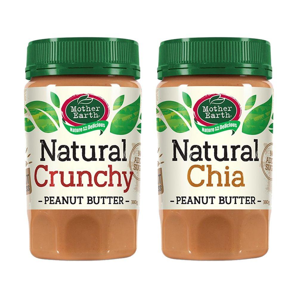 壽滿趣 - 紐西蘭Mother Earth超級花生醬2瓶組-顆粒+奇亞籽 (380gx2)