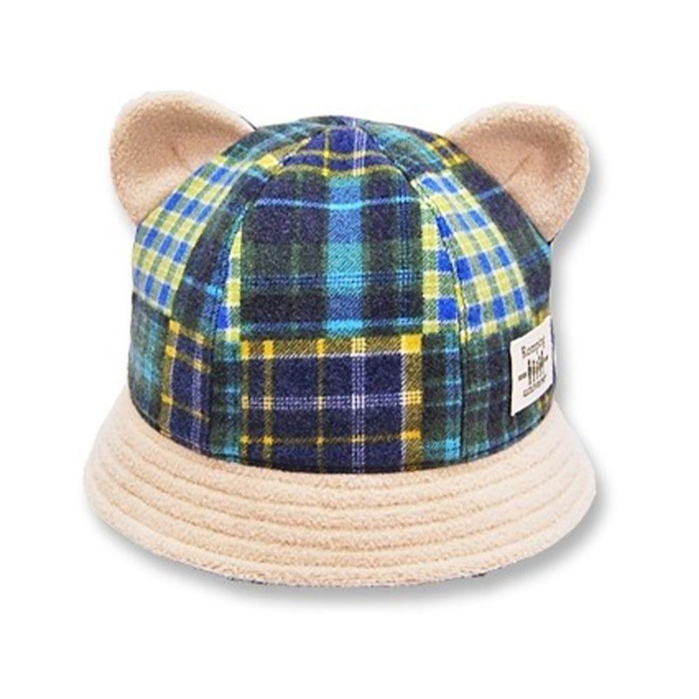 日本 Connect M - 日本製可愛冬帽-小童款-熊耳漁夫帽_綠藍格子-74-2006