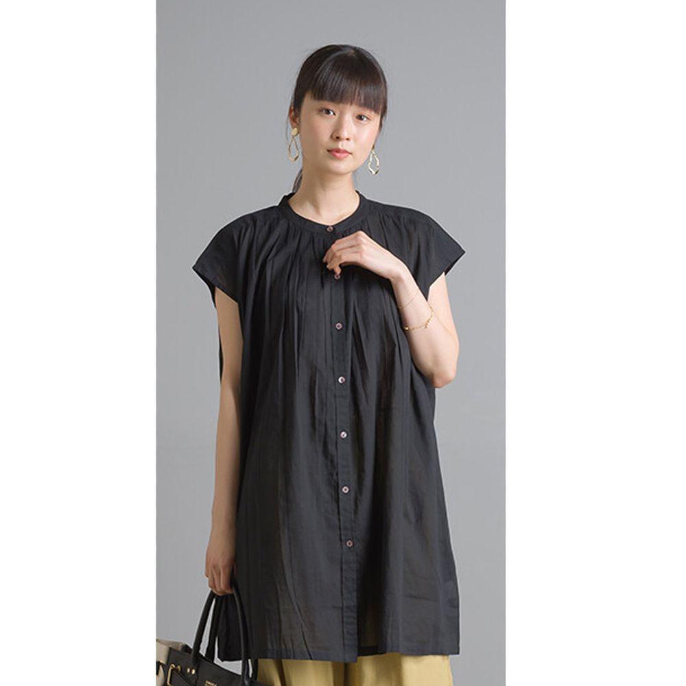 日本 OMNES - 輕盈壓摺中山領純棉一分袖上衣-黑 (Free size)