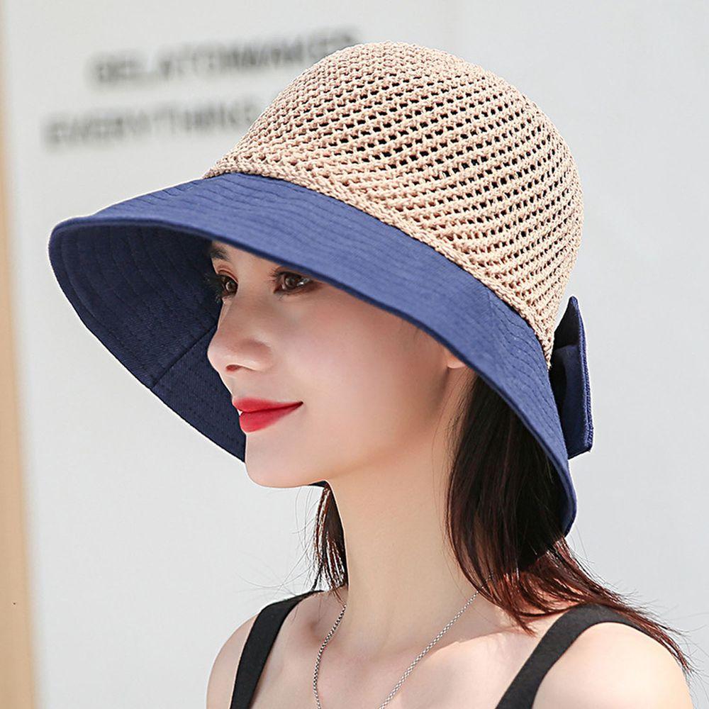 成人可折疊鏤空漁夫遮陽草帽-藏青 (55-58cm)