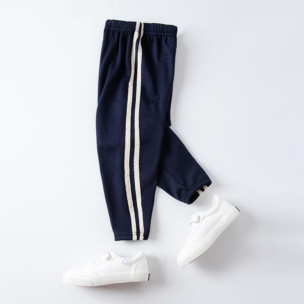 溫暖加絨運動束口褲-海軍藍