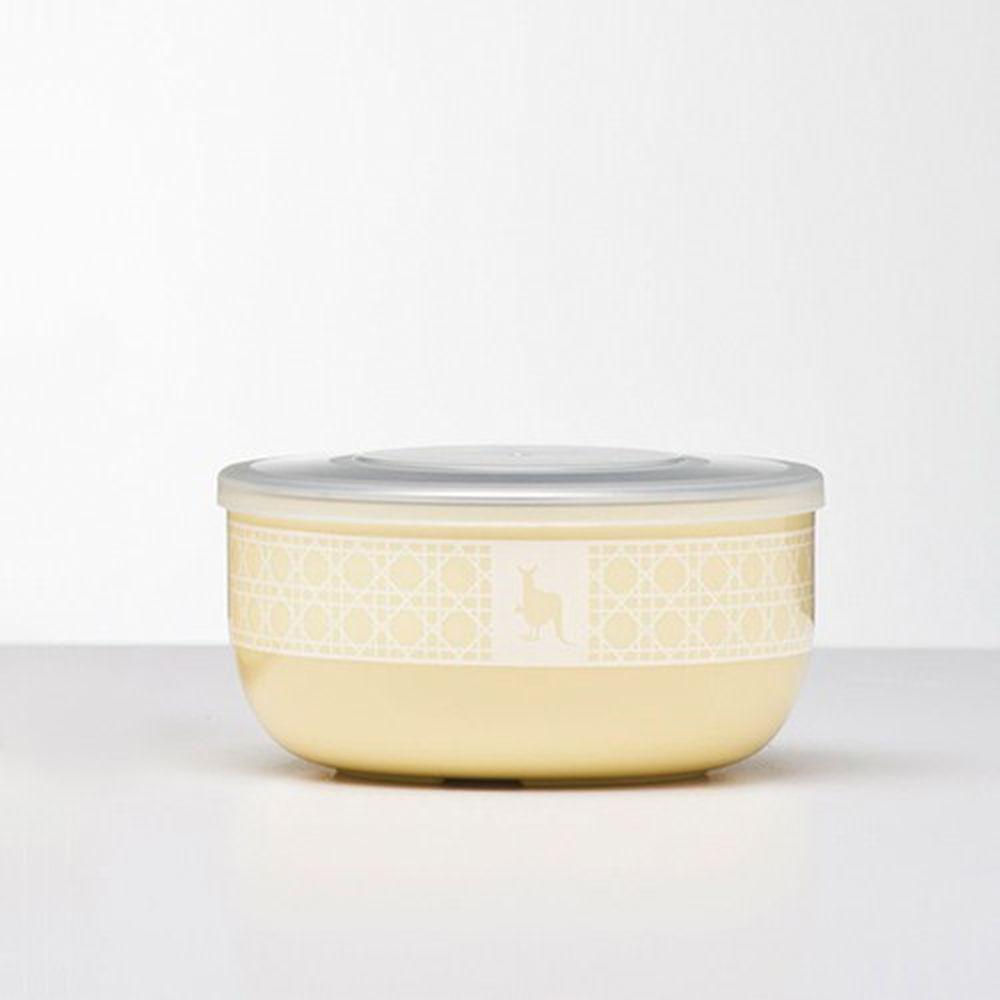美國 Kangovou - 不鏽鋼安全兒童餐具-點心碗-檸檬黃 (10*10*5(長*寬*高))