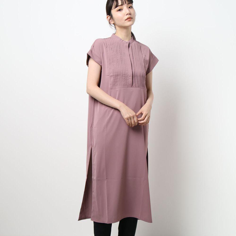 日本 Riche Glamour - 胸口小百褶設計一分袖洋裝-紫