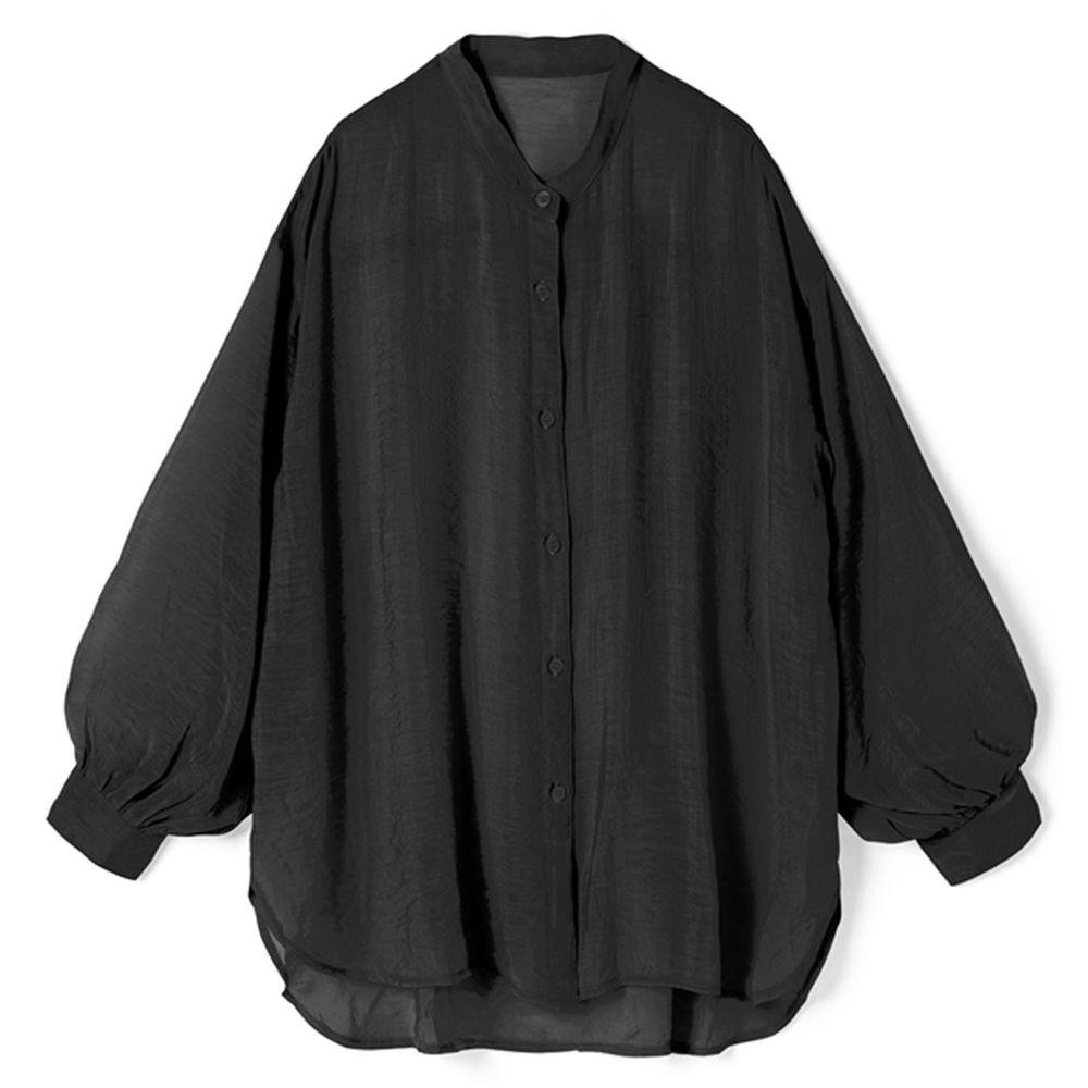日本 GRL - 絲滑薄透感寬版長袖上衣/罩衫/外套-時尚黑