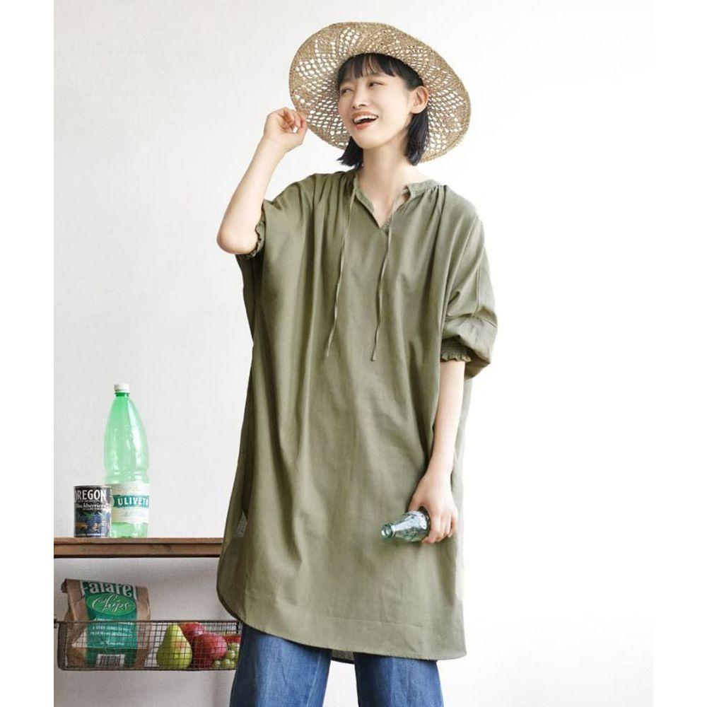 日本 zootie - 2way麻料混紡束口七分袖洋裝-墨綠