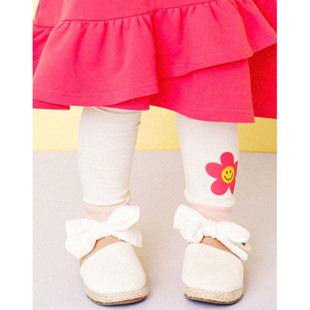 韓國 HEJMINI - 微笑花朵內搭褲-象牙白