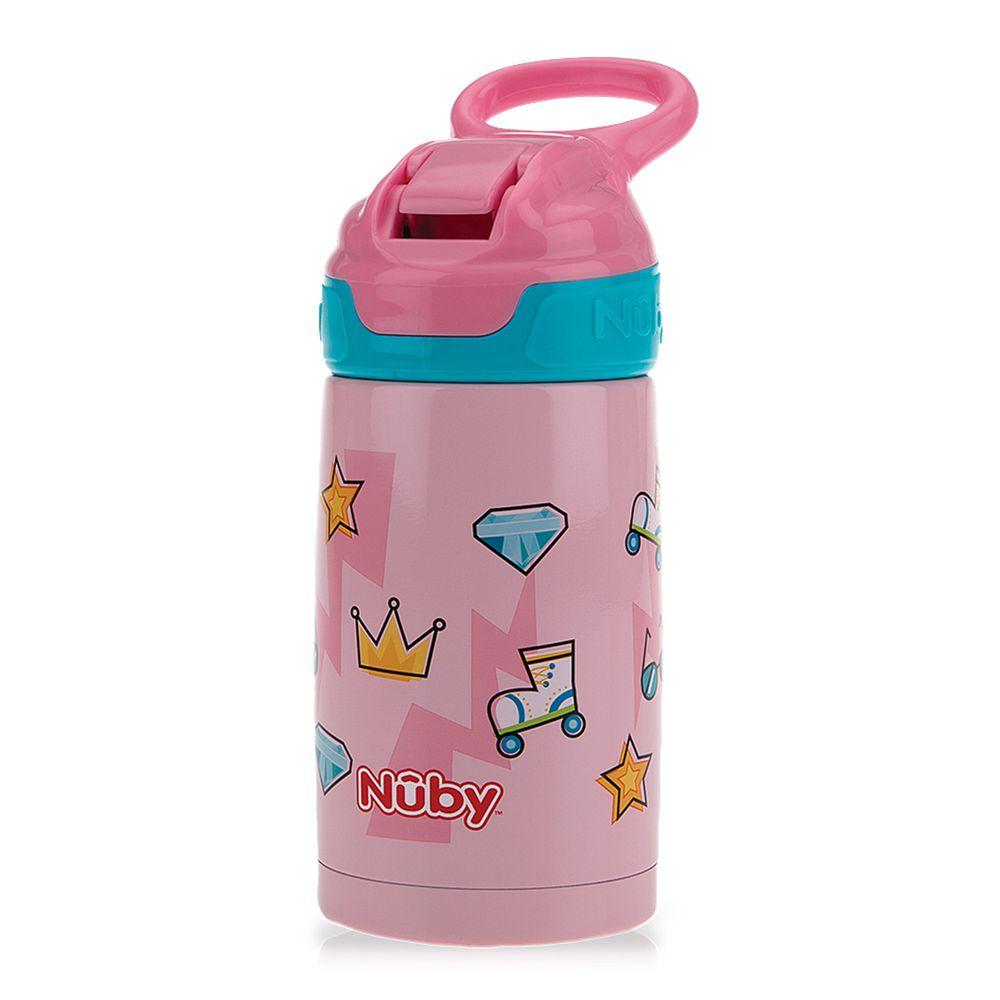Nuby - 300ML不銹鋼真空隨行杯-粉紅派對