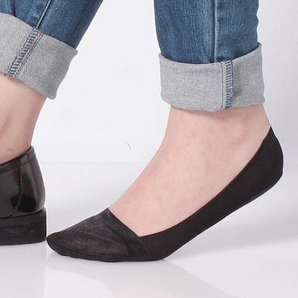 日本 okamoto - 超強專利防滑ㄈ型隱形襪-深履款-黑薄紗 (23-25cm)-足底棉混