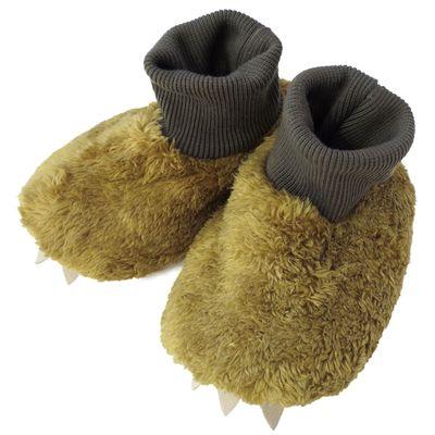 動物造型超柔軟保暖室內鞋(底部止滑)-恐龍-芥末黃綠 (14-16cm)