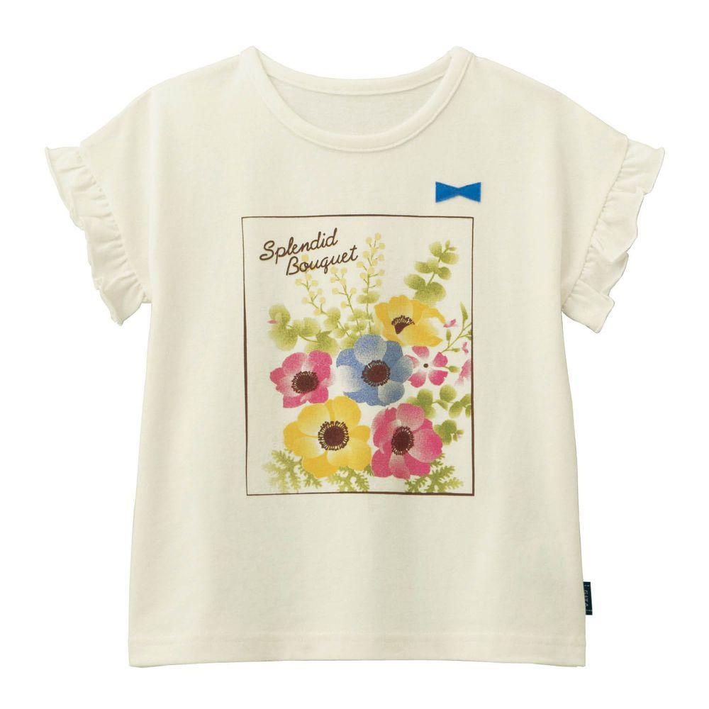 日本千趣會 - GITA 天竺棉印花短T-繽紛花朵-白