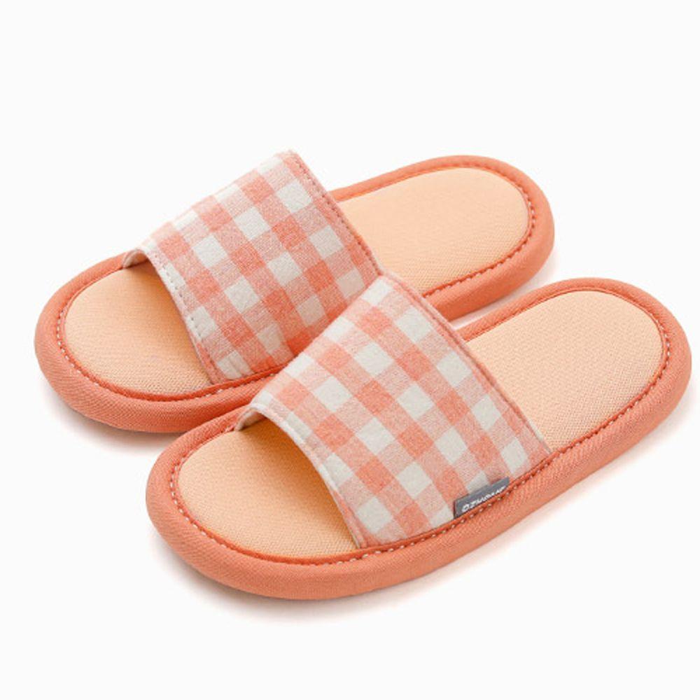 韓國 OZKIZ - 消音防滑室內鞋-拖鞋款(格子)-蜜桃橘