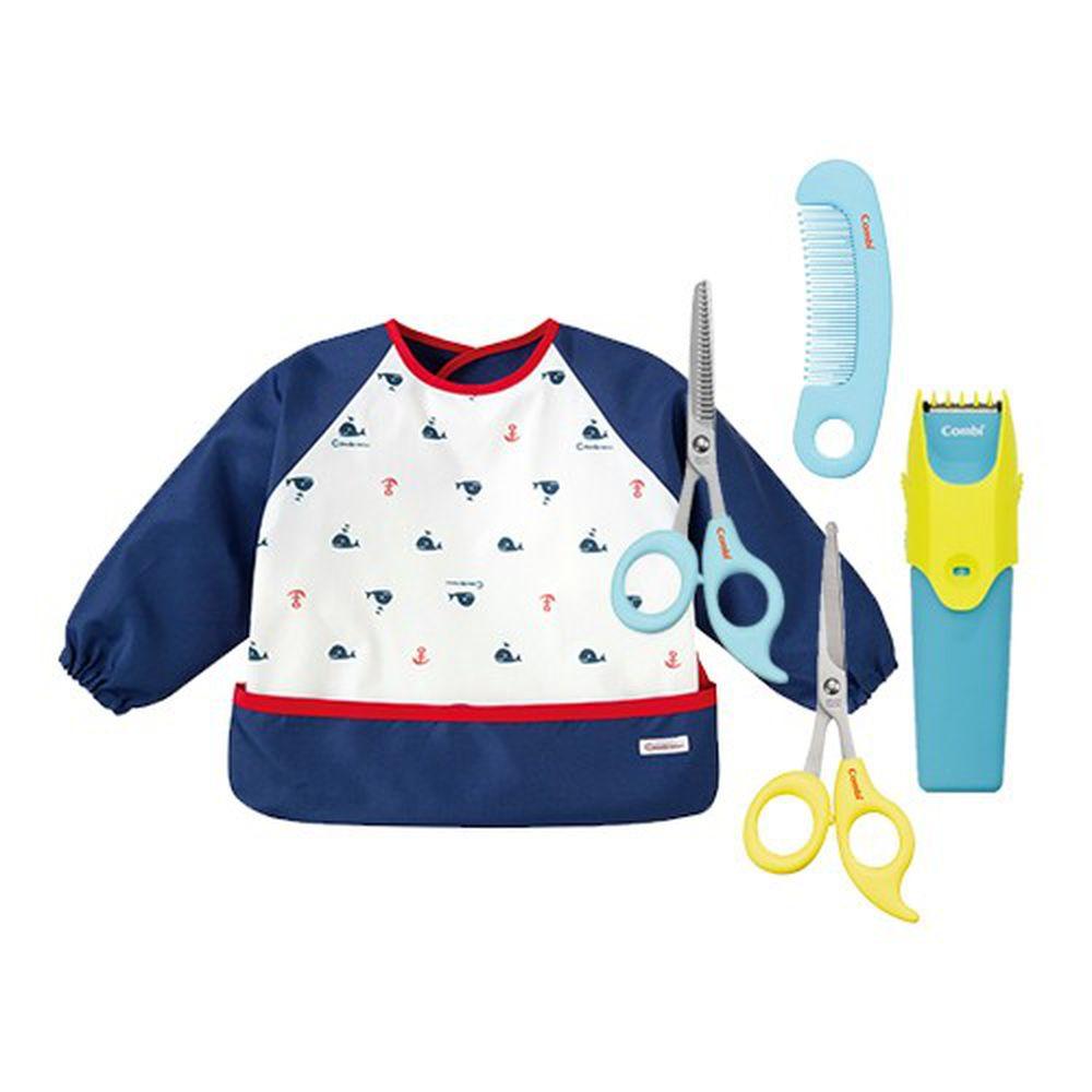 日本 Combi - 優質可水洗幼童電動理髮器+優質安全髮剪+優質安全髮剪髮梳組+mini 食事圍兜組合-長袖款-噴水鯨-海軍藍