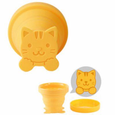 攜帶用折疊冷水專用水杯-貓咪-黃-95ml