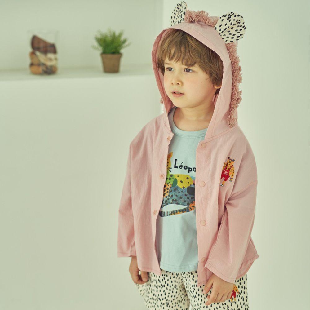 韓國 Mimico - 花豹造型耳朵薄外套-粉紅