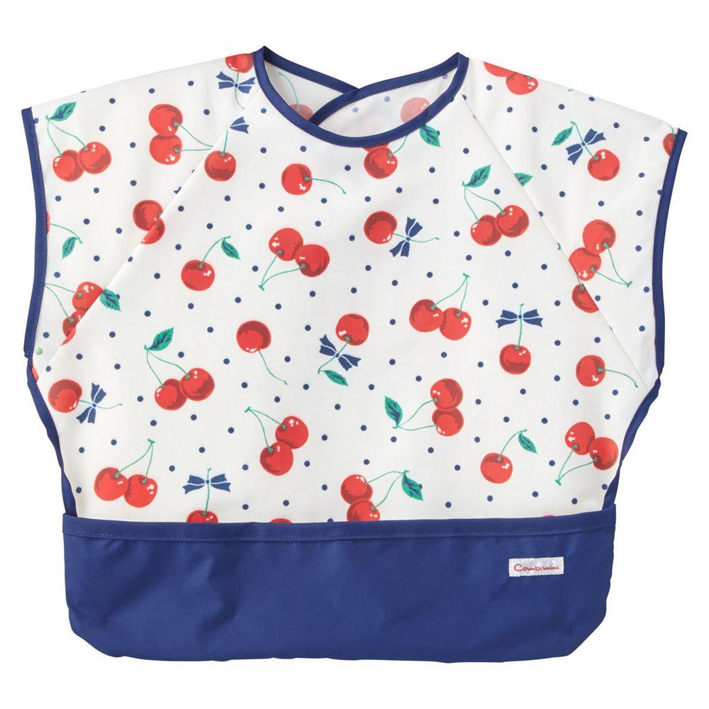 日本 Combi - mini 食事圍兜-短袖款-櫻桃-海軍藍 (L [90-100cm])-12個月起