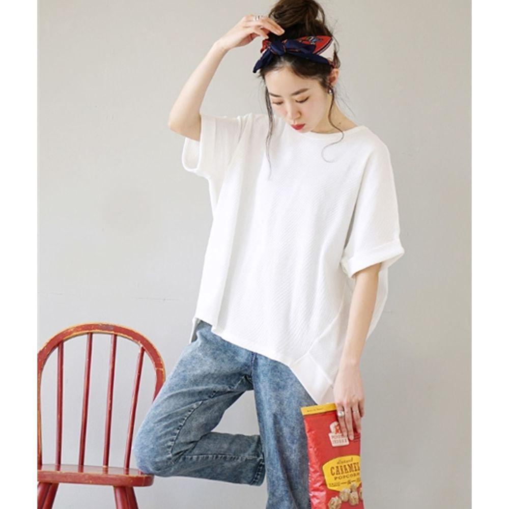 日本 zootie - 純棉鬆餅紋顯瘦五分袖寬版上衣-白