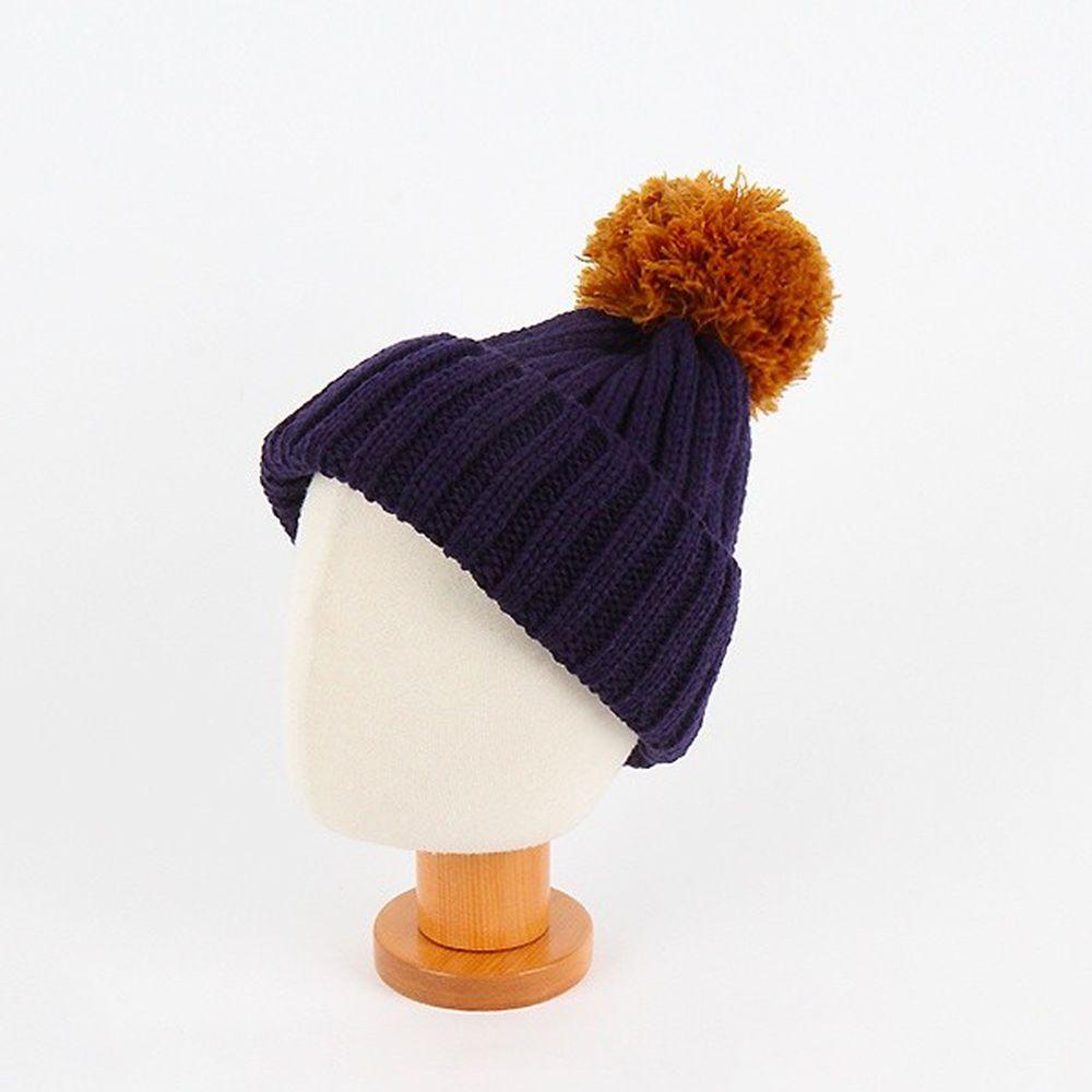 韓國 Babyblee - 大毛球針織毛線帽-深藍 (FREE)